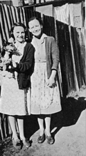 Bev and her mum, in their Darlington Backyard in the 1940s.