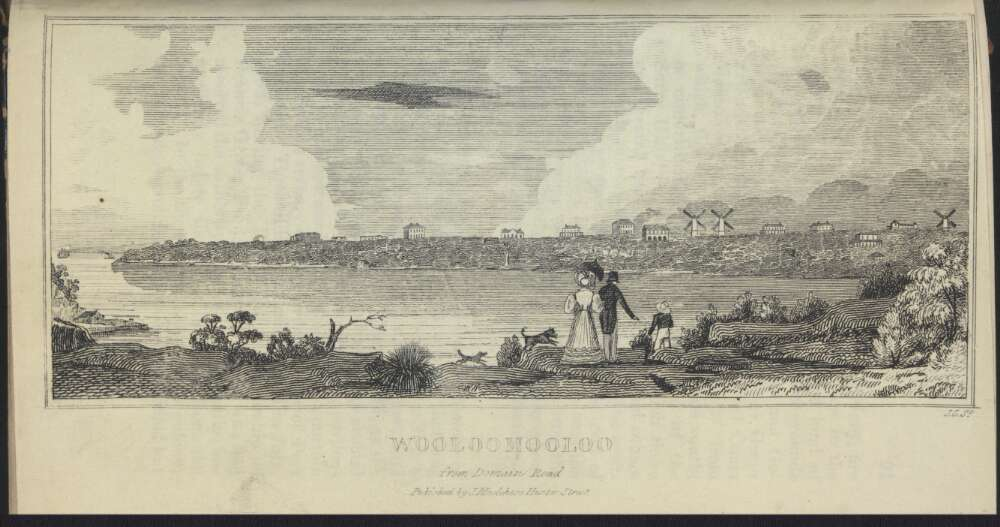 The 1838 view of grand villas and windmills in Potts Point, Kings Cross and Darlinghurst. [NLA: John Carmichael and James Maclehose, 'Wooloomooloo from Domain Road', published by J. Maclehose, 1838, <http://nla.gov.au/nla.obj-136125552>]